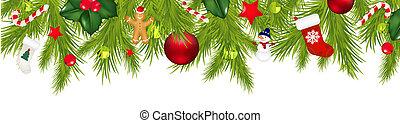Christmas Border With Xmas Garland Isolated On White ...