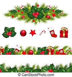 Christmas Borders Set With Xmas Garland, Isolated On White ...
