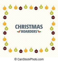 Christmas borders with balls vector