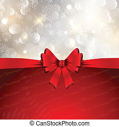 Decorative Christmas background with a glossy red bow and snowflakes design