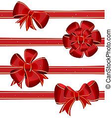 Christmas bow decoration - vector