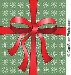 Christmas bow - Red christmas vector bow on snowflake ...