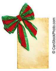Christmas bow with blank paper
