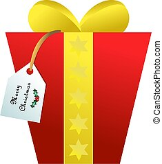 a simple bright and colourful Christmas gift box isolated on white background
