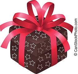 Brown christmas box with shite stars and a red bow