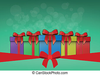 christmas box - illustration of christmas box with silk tied...