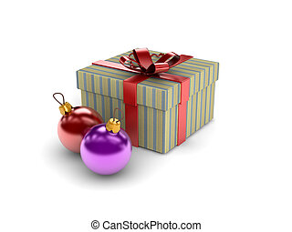 Christmas Box and baubles on white background.