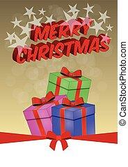 christmas box - illustration of christmas gift with silk...