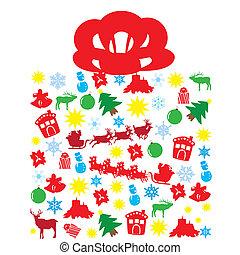 Christmas Box - vector box of Christmas elements or symbols