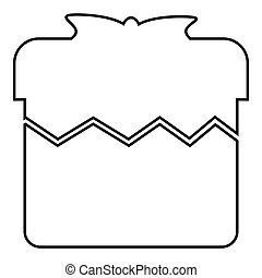 Christmas box icon, outline style