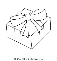 christmas box silhouette, gift icon, symbol, design. vector...