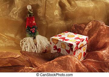 Christmas box - Handmade gift box and christmas toy isolated...
