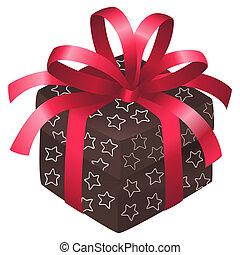 Christmas box - Brown christmas box with white stars and a...