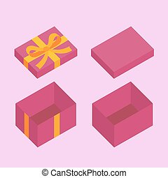 Christmas Box - Violet open box for gifts. Christmas and...