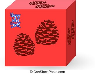 Christmas box with gifts, 3d red, cartoon on white background,