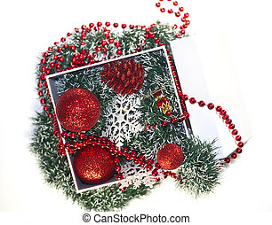 christmas box with New Year baubles