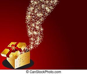 christmas box with stars - illustration of a christmas box...