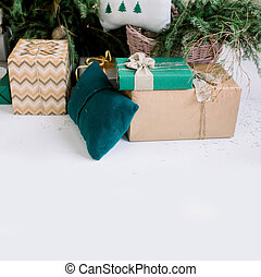 Christmas boxes with gifts lying on a white background