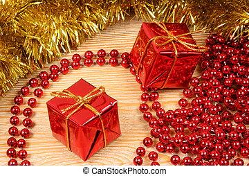 Colorful Christmas decoration. Seasonal concept. Holiday traditional ornaments.