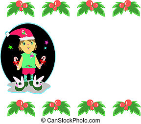 Christmas Boy and Floral Frame