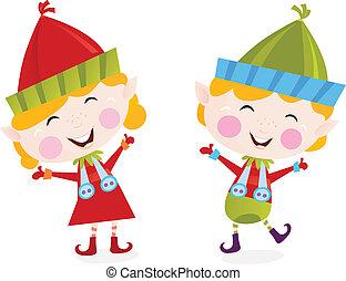 Christmas boy and girl elves - Cute small elves in christmas...