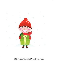 Christmas boy with gift