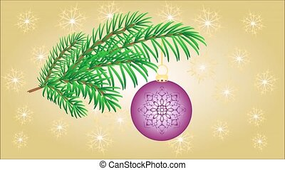 Christmas branch with baubles - Animation of illustration...