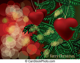 Christmas branches and ball in form heart. Vector