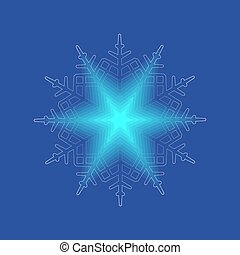 Christmas bright, gentle snowflake with shine like a star,