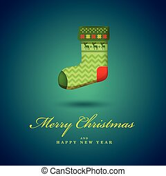 Christmas bright green gift sock. Blue vector background.