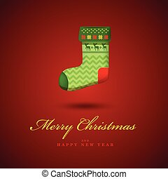 Christmas bright green gift sock. Red vector background.