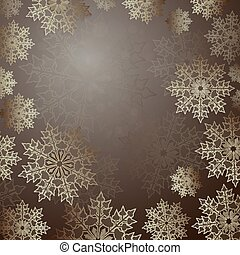 Christmas brown background with a set of elegant snowflakes, frame.