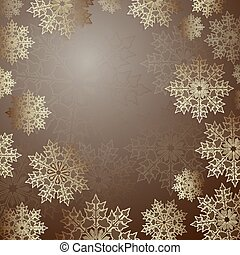 Christmas brown background with a set of elegant snowflakes,