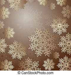 Christmas brown design with a set of elegant snowflakes,