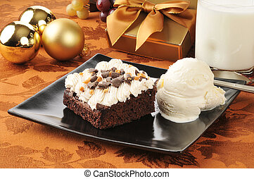 Christmas brownie and ice cream