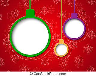 Christmas bubbles on red background