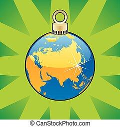 christmas bulb world globe