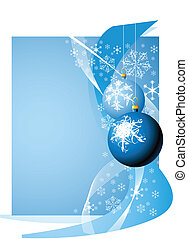 Christmas bulbs with snowflakes on blue background
