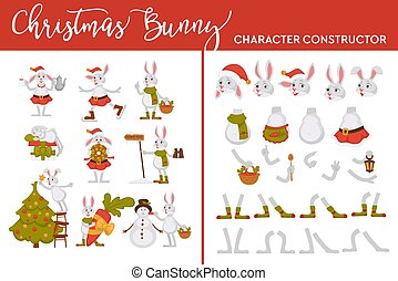 Christmas bunny character constructor rabbit on winter holiday