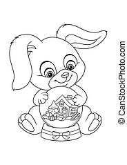 Christmas Bunny with Snow Globe Coloring Page