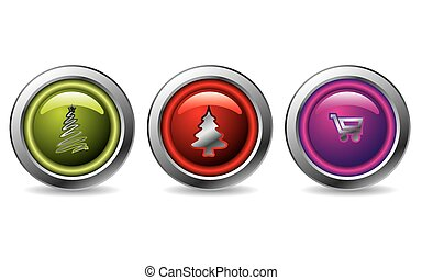Christmas button set of 3 with christmas tree and shopping cart