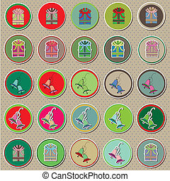 Christmas buttons and stickers