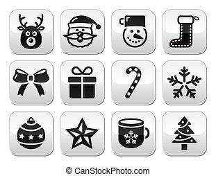 Christmas buttons set - santa