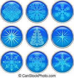 Christmas buttons, set