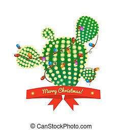 Christmas cactus tree, vector illustration