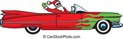 You better watch out, You better not cry... Santa Claus is coming to town in a drop-top Caddy! Fully editable vector file. Put some rockin%u2019 in your stockin%u2019 this Christmas!