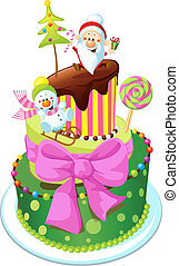 christmas cake isolated on white background