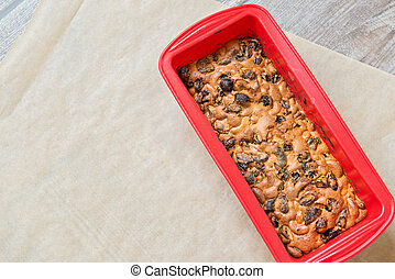 Christmas cake on red form