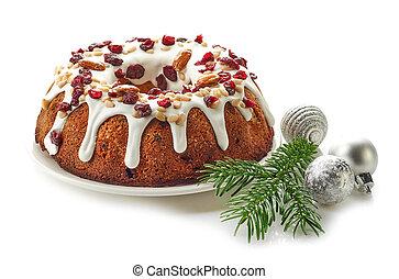 Christmas cake on white background