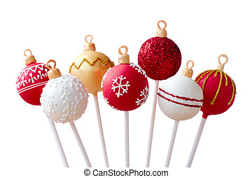 Christmas cake pops isolated against white